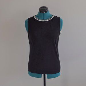 Black Tank Top Pearl Neckline Embellished Chain